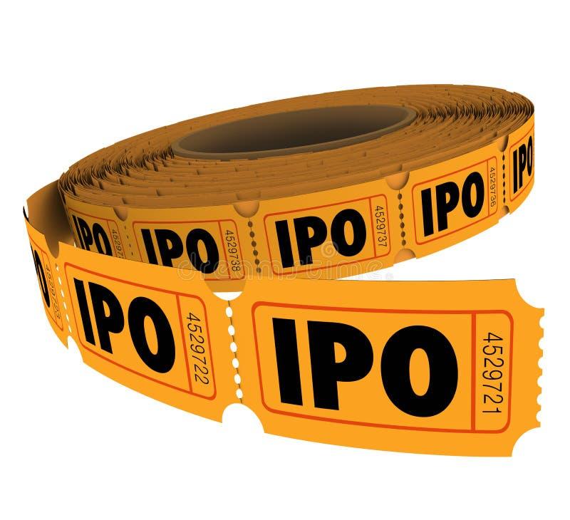 Rulle för biljett för IPO Märka med sina initialer Allmänhet Offering Företag affärstombola royaltyfri illustrationer