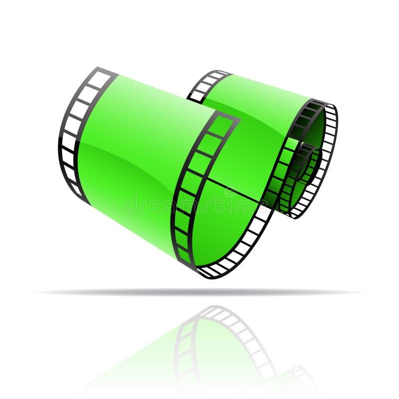 Rulle för grön film vektor illustrationer