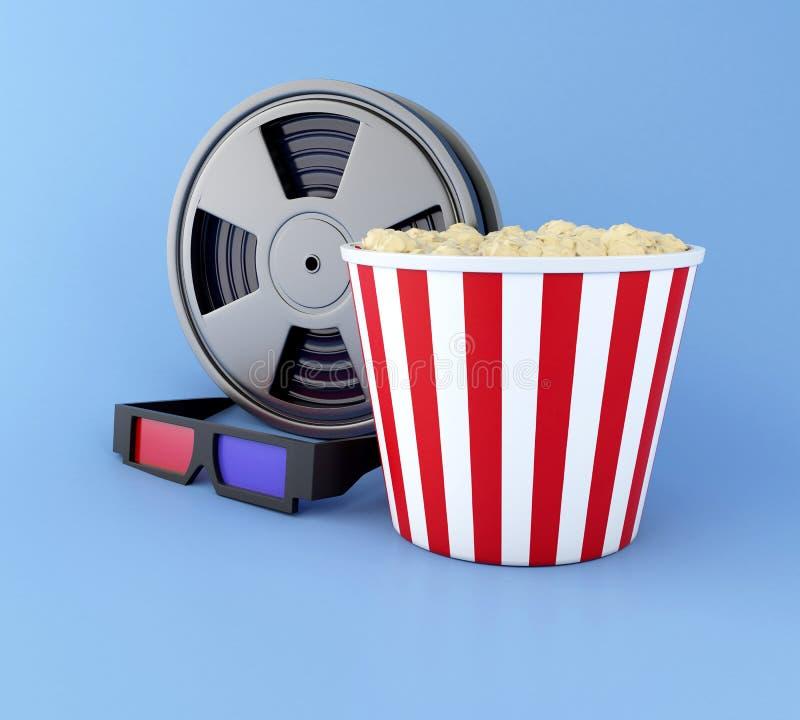 rulle, popcorn och exponeringsglas 3d för film 3d stock illustrationer