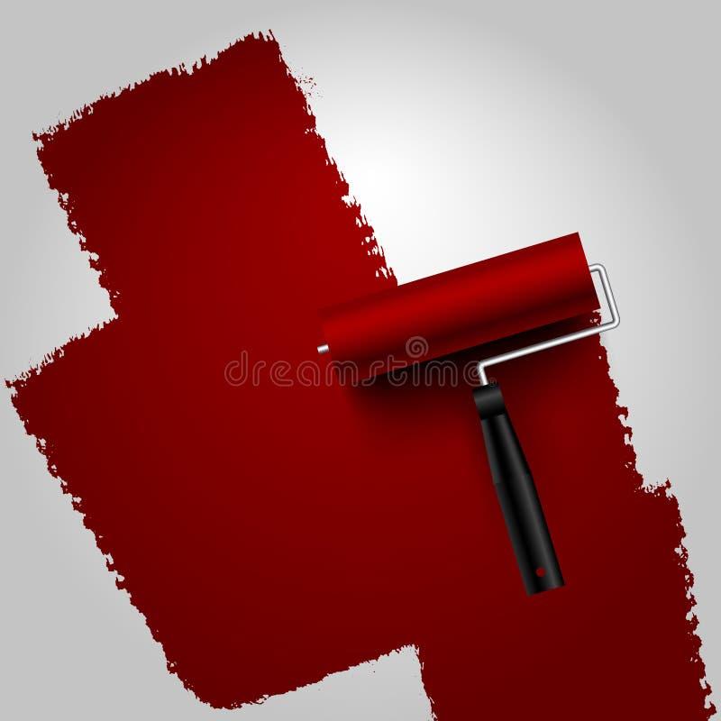 Rullen målade mörker - som var rött på vit bakgrund vektor illustrationer