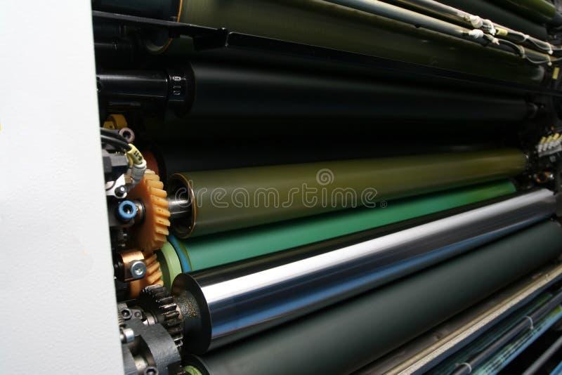 Rulli dell'inchiostro sulla macchina ' offset ' fotografia stock