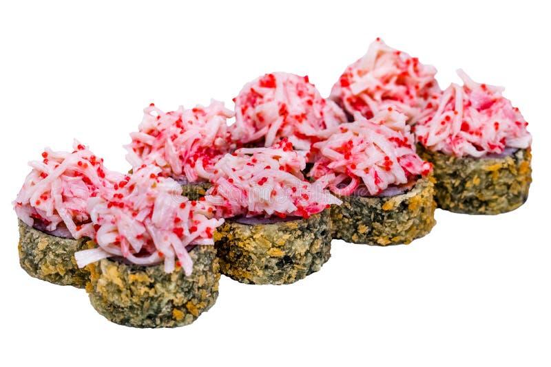 Rulli di sushi isolati su priorità bassa bianca immagine stock