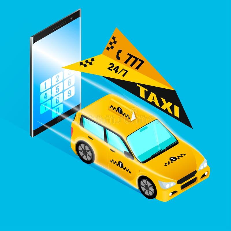 Rulli l'ordine in macchina il telefono, lo smartphone ed isometrici illustrazione vettoriale