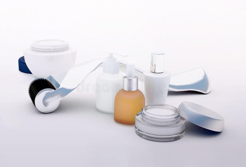Rullo di Derma per la micro terapia medica di agugliatura con la fiala di vetro illustrazione vettoriale