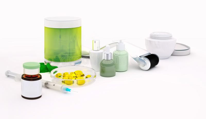 Rullo di Derma per la micro terapia medica con la siringa, g di agugliatura illustrazione di stock