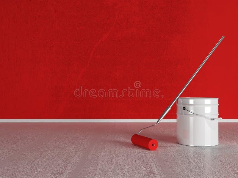 Rullo di pittura vicino al secchio royalty illustrazione gratis