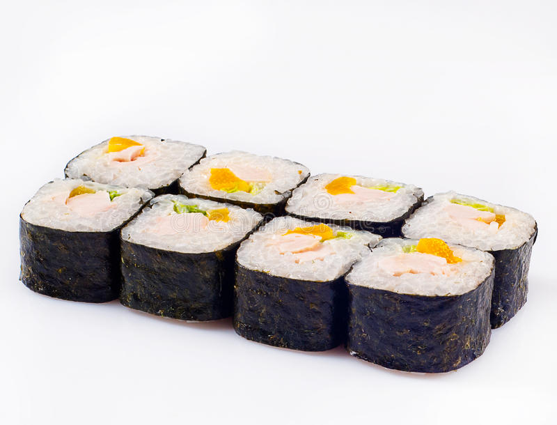 Rullo Di Sushi Con La Pesca Ed Il Pollo Immagini Stock Libere da Diritti
