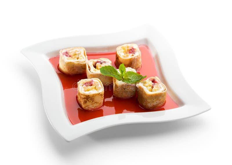 Rullo di sushi dolce della frutta fotografie stock libere da diritti