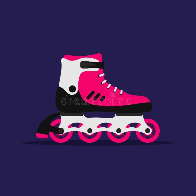 Rullskridskor som isoleras på mörkt - blå bakgrund Åka skridskor flickaskon på hjul ?ka skridskor f?r rulle vektor illustrationer
