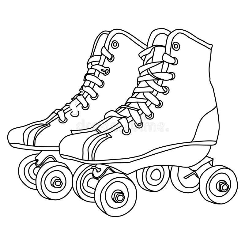 Rullskridskorlinje teckning vektor illustrationer