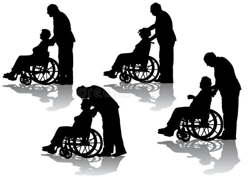 rullstol för inaktiverad person stock illustrationer