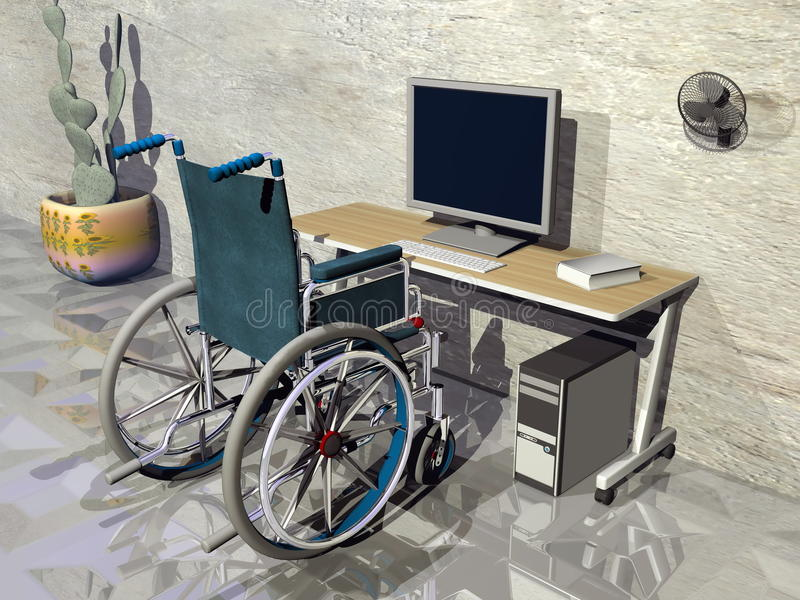 Rullstol på kontoret - 3D framför royaltyfri illustrationer