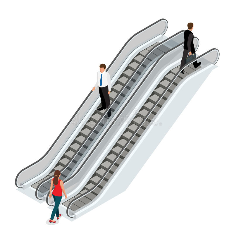 Rulltrappabild Isometrisk rulltrappaillustration HissJPG Modern arkitekturtrappa, elevator och hiss, rulltrappa stock illustrationer