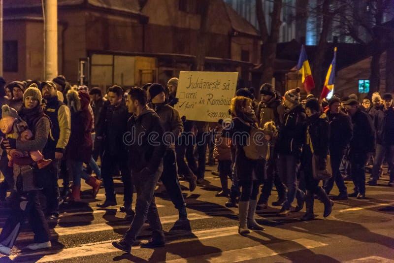 Rumäneprotest gegen Korruptionsverordnung stockfotografie