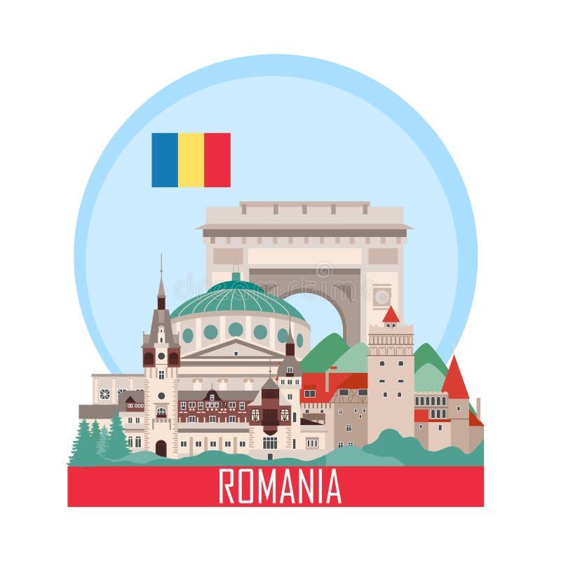 Rumänien bakgrund med nationella dragningar stock illustrationer