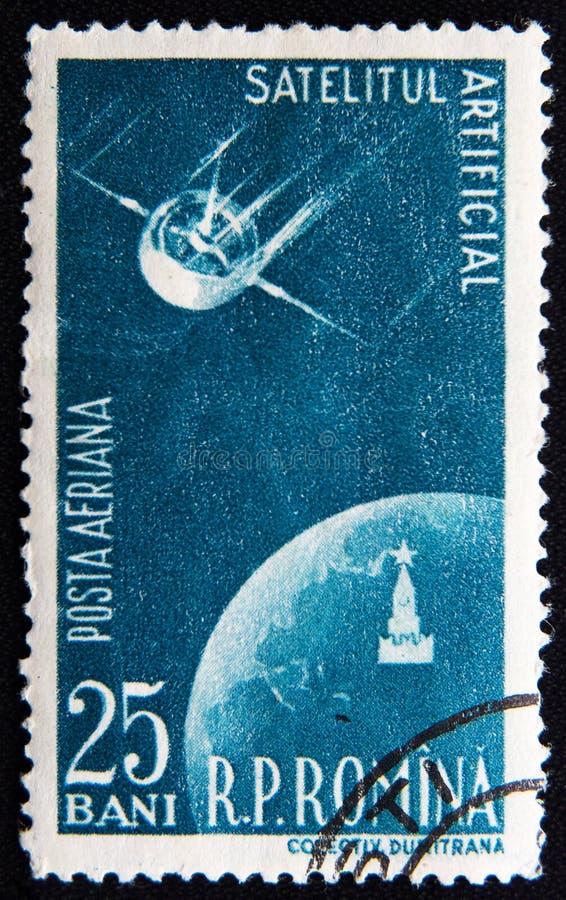 Rumänien circa 1958 mit Satelliten und Erdplaneten lizenzfreie stockfotografie