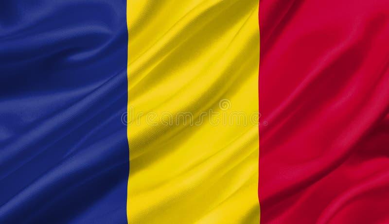 Rumänien fahnenschwenkend mit dem Wind, Illustration 3D vektor abbildung