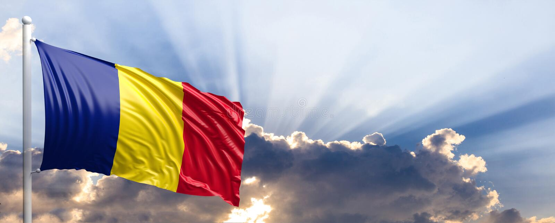 Rumänien-Flagge auf blauem Himmel Abbildung 3D vektor abbildung