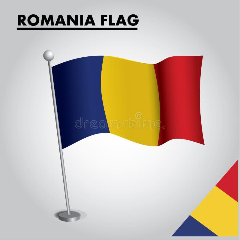 RUMÄNIEN-Flagge Staatsflagge von RUMÄNIEN auf einem Pfosten lizenzfreie abbildung