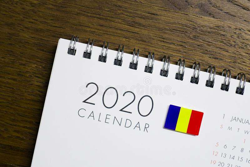 Rumänien-Flaggen-2020 Kalender stockbilder