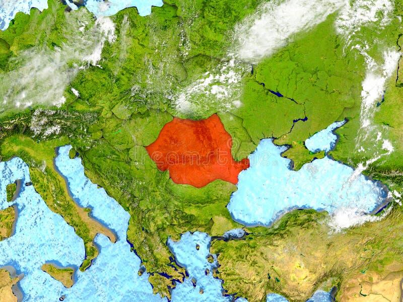 Rumänien på översikt med moln royaltyfri illustrationer