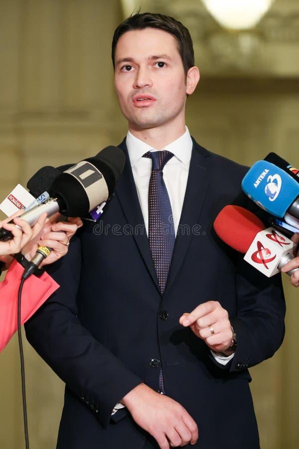 Rumänien-Politik - Robert Ionatan Sighiartau - Nationalliberale Partei lizenzfreies stockfoto