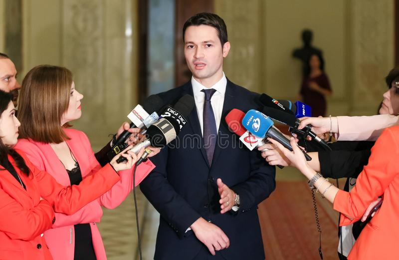 Rumänien-Politik - Robert Ionatan Sighiartau - Nationalliberale Partei stockfoto