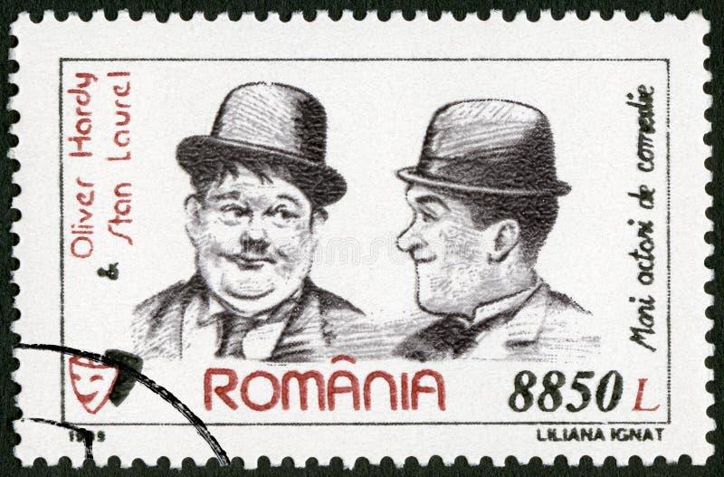 RUMÄNIEN - 1999: shower Oliver Hardy 1892-1957 och Stan Laurel (1890-1965), komiska skådespelare för serie arkivfoton
