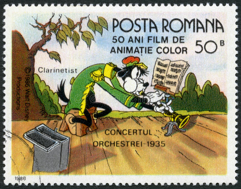 RUMÄNIEN - 1986: Shows Clarinetist, Walt Disney-Charaktere in der Band Concert, 1935, gewidmet fünfzig Jahre Farbzeichentrickfilme lizenzfreie abbildung