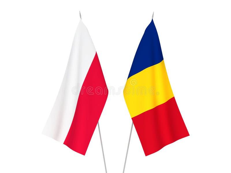 Rumänien- und Polen-Flaggen stock abbildung