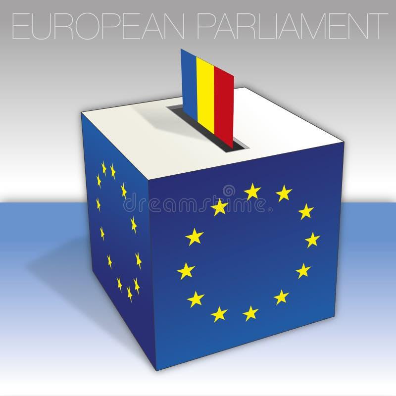 Rumänien, val för europeisk parlament, valurna och flagga royaltyfri illustrationer
