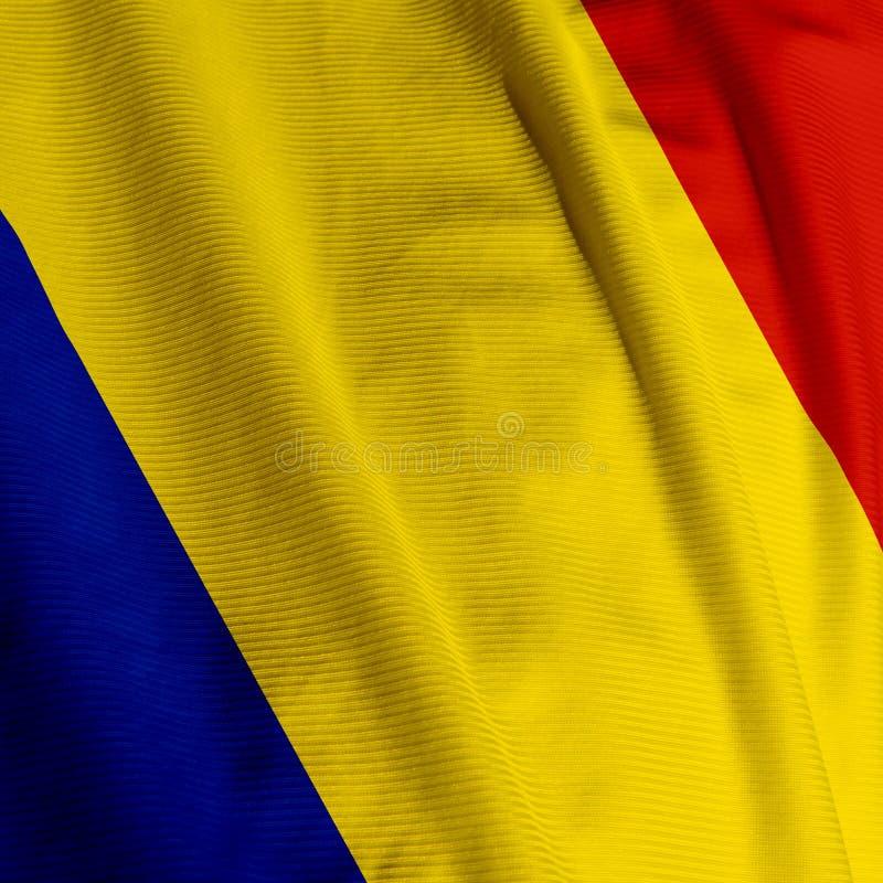 Rumänische Markierungsfahnen-Nahaufnahme lizenzfreie stockfotos
