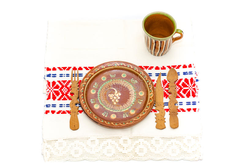 Rumänische traditionelle Tabellenanordnung lizenzfreies stockfoto