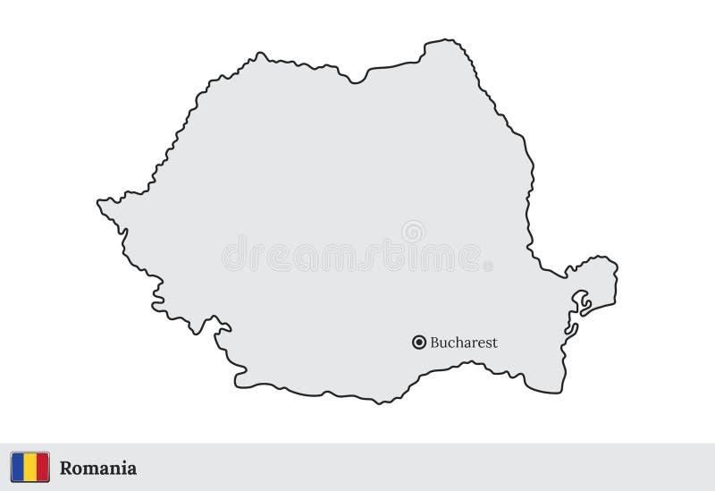 Rumänische Vektorkarte mit der Hauptstadt Bukarest Vector Karte von Rumänien mit nationaler Flagge und markierter Hauptstadt Buk vektor abbildung