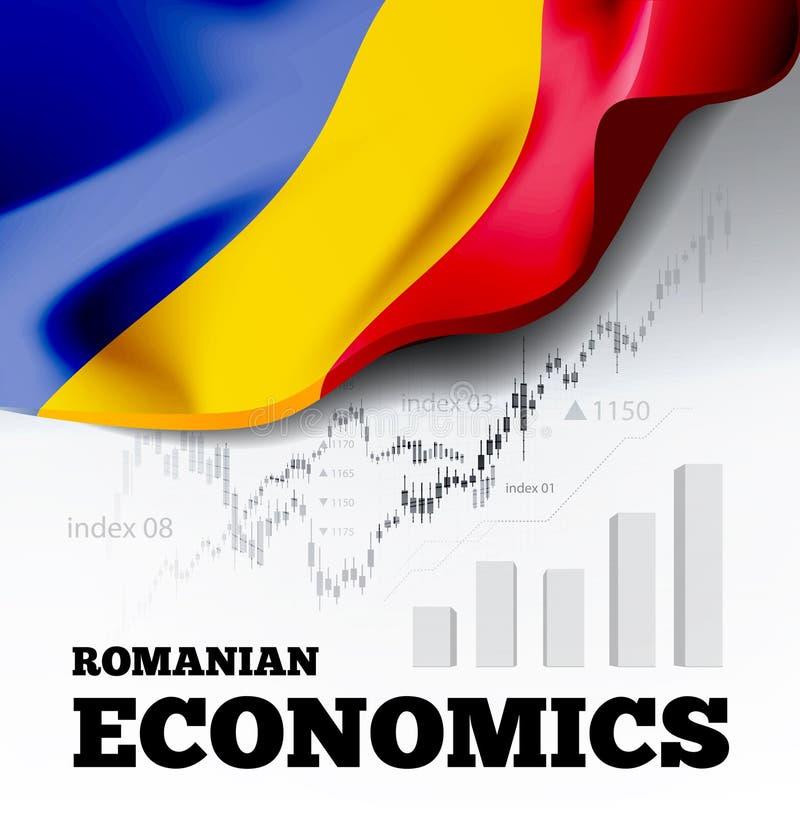 Rumänische Wirtschaftsvektorillustration mit Rumänien-Flagge und Geschäftsdiagramm, Balkendiagramm-Typenbezeichnungs-Hausse vektor abbildung