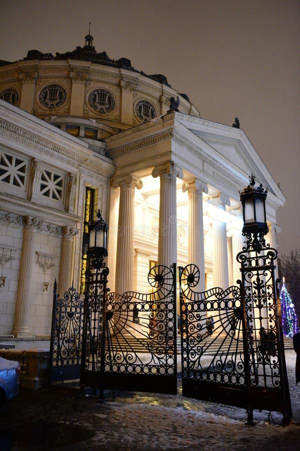 Rumänischer Atheneum Nightscene stockfotos