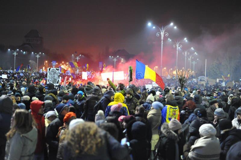 Rumänischer Demokratieprotest stockbilder