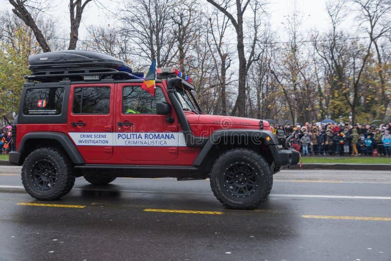 Rumänischer gerichtlicher Polizeiwagen stockfotos