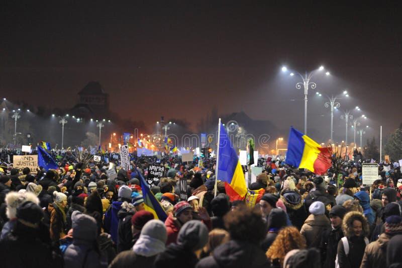 Rumänsk demokratiprotest royaltyfria foton