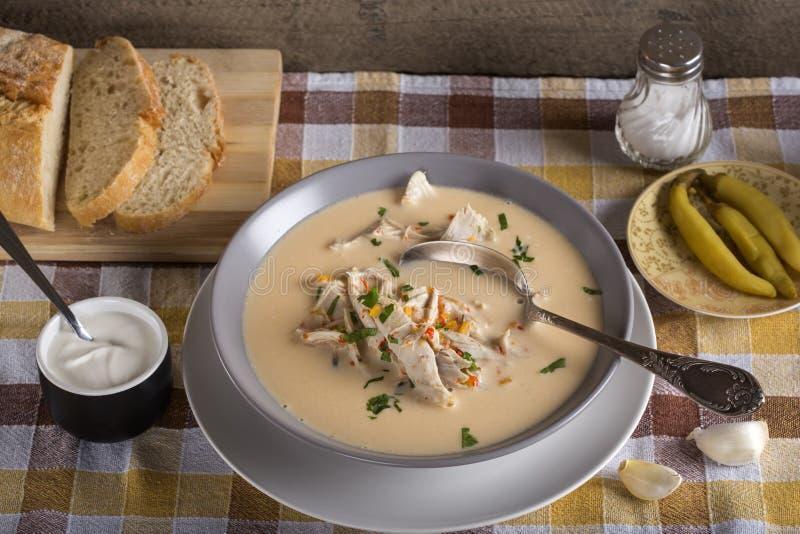 Rumänsk feg soppa som namnges Ciorba Radauteana royaltyfri foto