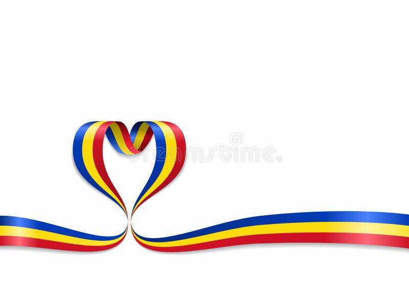 Rumänsk flagga hjärta-format band också vektor för coreldrawillustration stock illustrationer