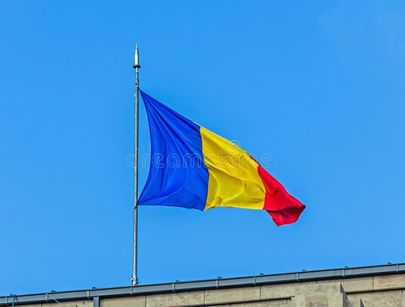 Rumänsk flagga i solen, nationell dag av Rumänien arkivbild