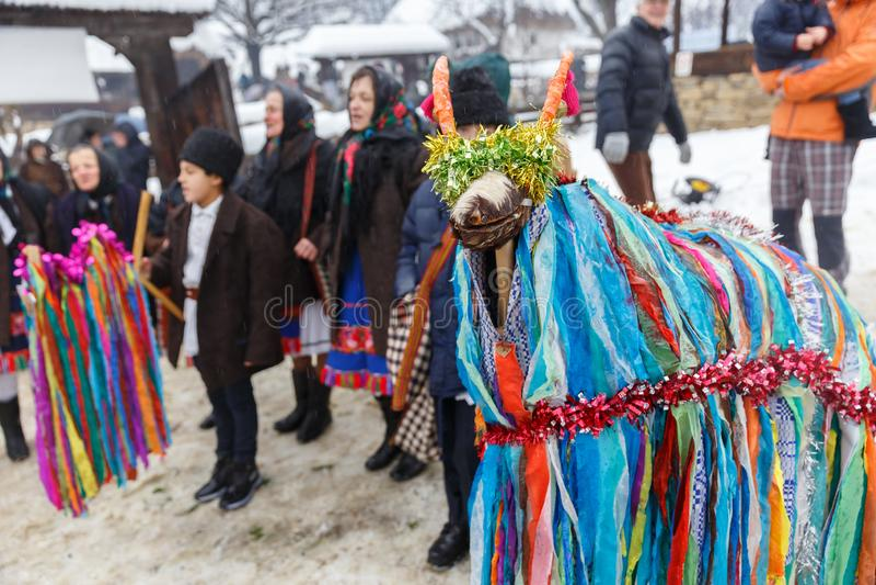 Rumänsk vinterfestival i Maramures arkivfoton