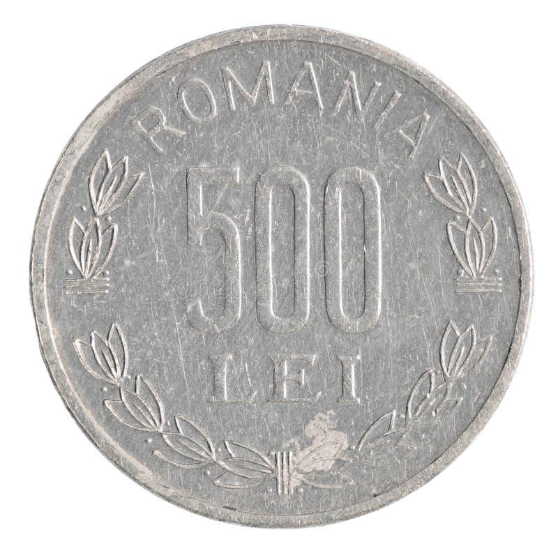 500 rumänskt Lei mynt royaltyfri fotografi