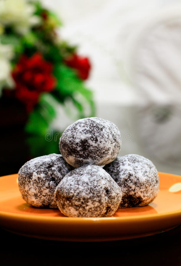 Rum balls. Delicious rum balls as snack stock photography