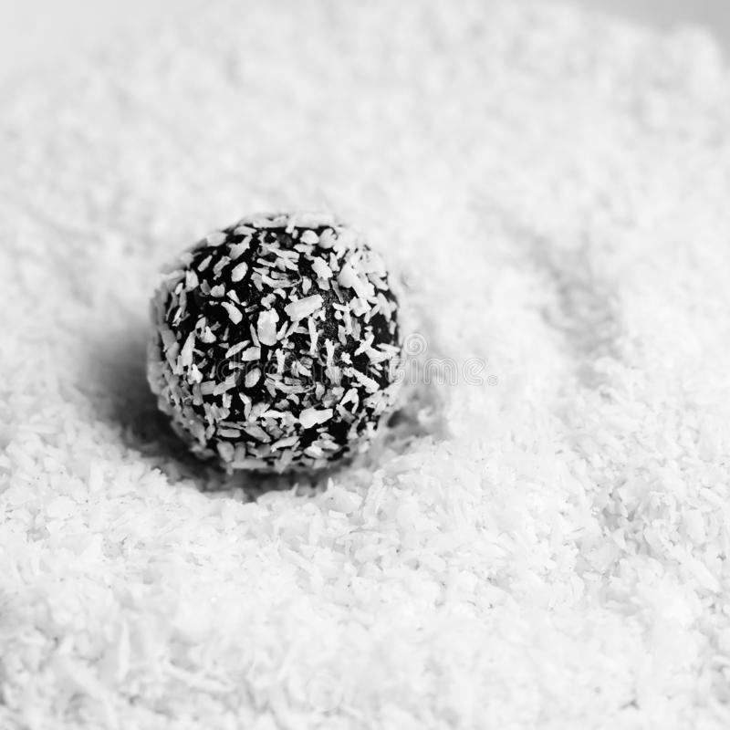 Rum balls. Traditional Czech Christmas cookies. Cocoa coated in coconut royalty free stock photography