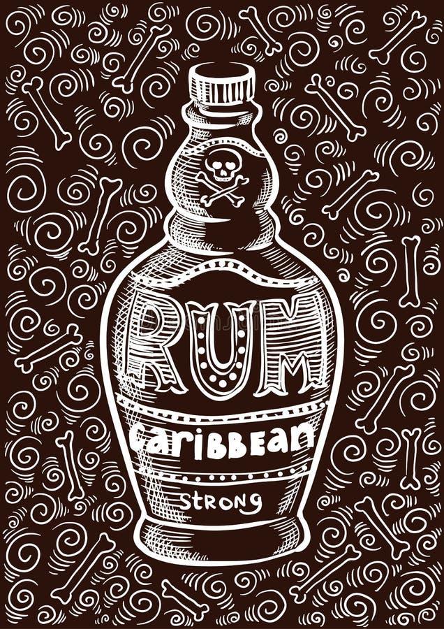 Rum bottle retro old vintage design illustration. Dark brown stock illustration