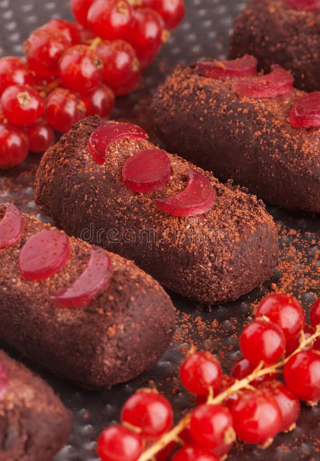 Rum chocolate balls with cocoa powder. On a tray and red currant royalty free stock image