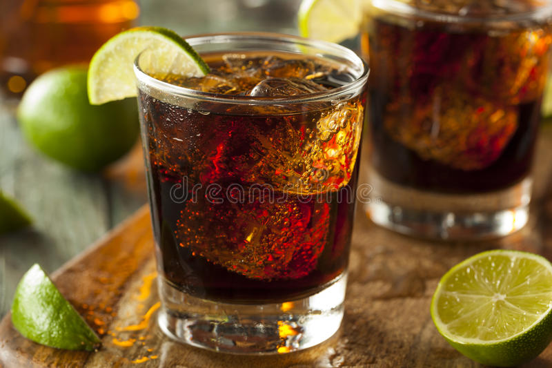 Rum and Cola Cuba Libre. With Lime and Ice stock image