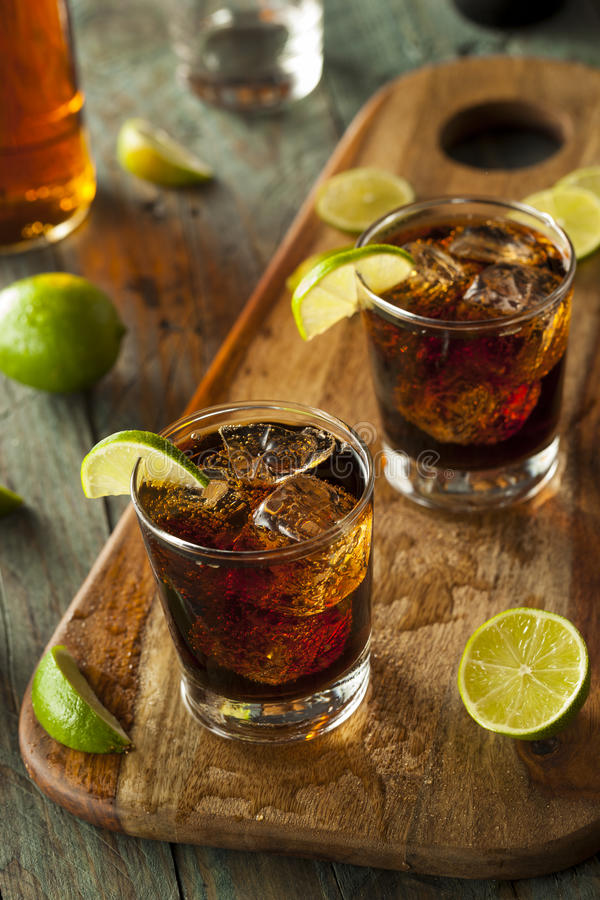 Rum and Cola Cuba Libre. With Lime and Ice royalty free stock image